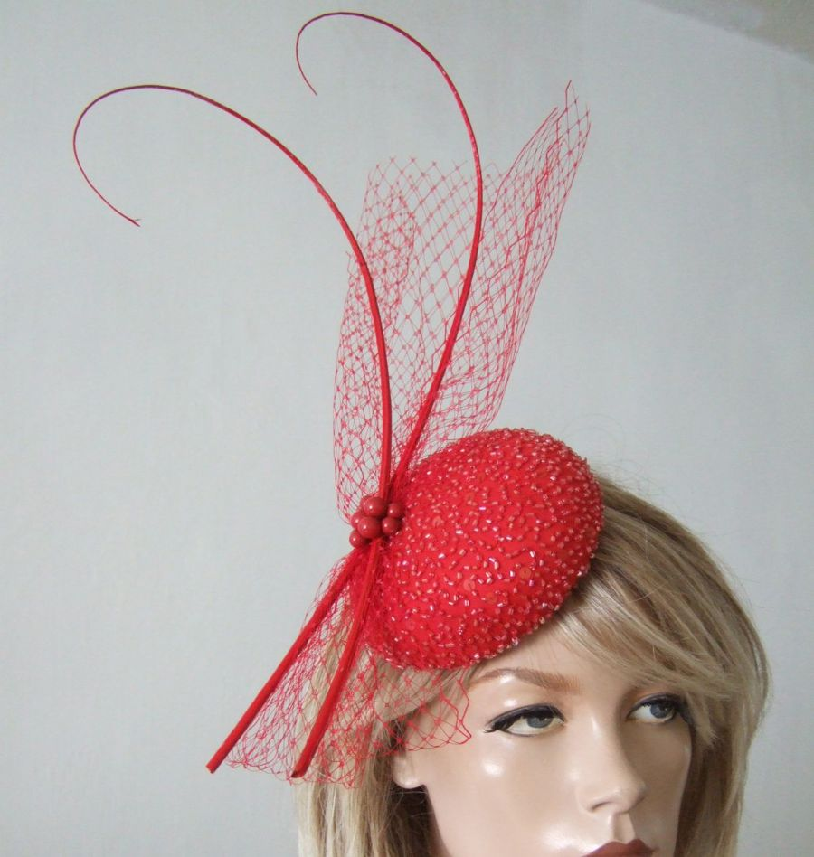 Red Silk Beaded Veil Quills Fascinator Hat. Veiled Button Headpiece Hatinator . Handmade in the UK. . Red Fascinator for the races. Mother of the Bride fascinators.  Mother of the Groom Fascinators.